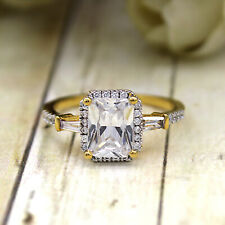 2.00 CT Radiant Cut Halo Diamond Wedding Engagement Ring 14kt Solid Yellow Gold