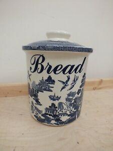 Vintage Empire Ware Blue & White Ceramic Bread Bin Large Lidded (Hol)
