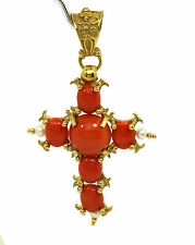 Gorgeous Coral & Seed Pearls 18k Yellow Gold Cross Pendant