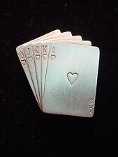 "'Royal Flush Poker Hand' Pin ""Jj"" Jonette Jewelry Silver Pewter"