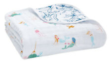 "Aden & Anais Classic Dream Cotton Muslin 47"" x 47"" Baby Blanket Salty Kisses"