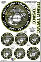 USMC Camp Lejeune Toxic Water 7 Decal Bundle - 4 Inch with 3 Title Strips.