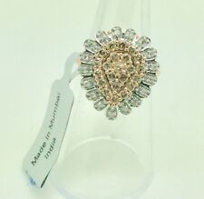 9ct Rose Gold Champagne & White Diamond pear shaped cluster ring