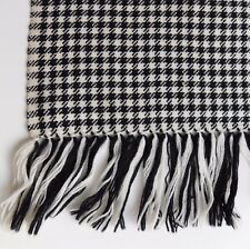 Black and white scarf fringed vintage 1960s houndstooth check pattern wool