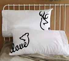 Buck & Doe Black or Camo Couple Pillowcases His and Her Birthday Valentines Gift