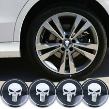 4x 56mm SKULL PUNISHER RIM WHEEL CENTER CAP DECAL STICKER FOR FORD CHEVY CIVIC