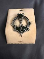 Vintage Sol O' Or Connermara Marble Celtic Pin Brooch Ireland Green Marble rd