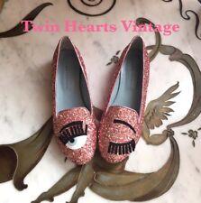 Chiara Ferragni Flirting Pink Glitter Flats Slip On Shoes NEW