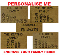 Personalised Engraved Coir Family Door Mat 40cm x 70cm Internal Etched Gift Idea