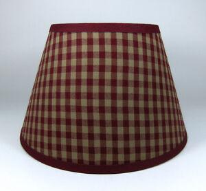 Country Primitive Burgundy Medium Check Homespun Fabric Lampshade Lamp Shade