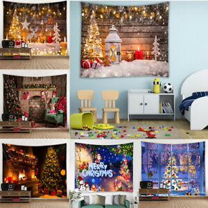 Merry Christmas Tapestry Fireplace Snow Scenes Print Wall Hanging Xmas Home Deco