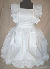 Ruffled Bib Apron Pinafore WHITE Plus size 3X Gingham checks handcrafted