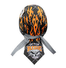 Eat Sleep Ride Flame Skull Doo Rag Headwrap Cap Sweatband Capsmith Biker Durag