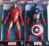 "Marvel IRON MAN  9"" & Captain America 9"" Action Figures! 2019 Hasbro NEW IN BOX."