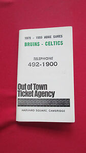 BOSTON BRUINS/CELTICS-1979-1980 OUT OF TOWN TICKET AGENCY SCHEDULEW/GARDEN MAP