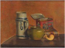Antikes Gemälde um 1800 - Stillleben mit Pfeife, Krug, Buch, Dose - signiert