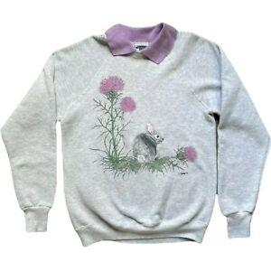Artisans Sweatshirt Lee Embroidered Bunny Collared Womens Medium Gray U Are SA