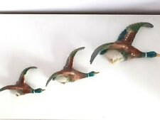 Vintage 50's Flying Mallard / Duck Wall Plaques Full Set 3 - Perfect Condition