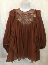 Chloe Blouse Rust Embroidered  Silk Layers Long Sleeve  Size 36 NWT $2300