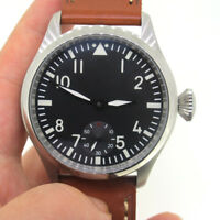 47mm Parnis 6498 Hand Winding Men's Mechanical Causal Watch Stainless Steel Case