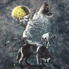 Wolf Howling at Moon Xl Teal Blue/green T-Shirt Wilderness Moose Bear Pack