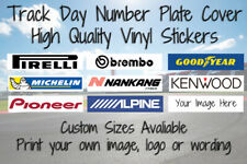 Track Day Number Plate Cover Sticker Motorsport Racing Car Logo Custom Sizes