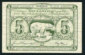 Greenland 5 kroner 1953 Polar Bear & Arms P18b Size 130x84 mm VF+