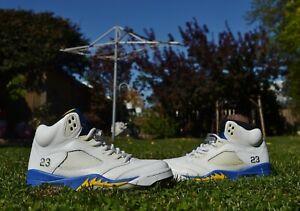 Nike Air Jordan V Laney 5 136027-189 Men's 8.5 Sneakers Shoes White Blue Yellow