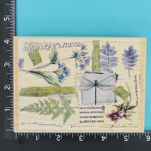 Floral Collage 90288 Dragonfly Fern Flowers Stamps Happen Wood Rubber Stamp