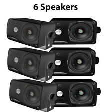 "Lot of 6 NEW Pyle PLMR24B 3.5"" 200W 3-Way Weather Proof Mini Box Speakers Black"