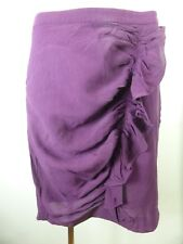 COUNTRY ROAD dark purple 100% SILK ruffle frill detailed skirt sz 12