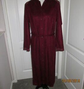 Vintage Ladies Long Sleeved Dark Red Dress By St Michael 1970/80s made in uk