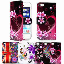 Floral Design PU Leather Wallet Case Cover for iPhone 5 & 5S with Card Holder