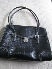 Designer LIZ CLAIBORNE Briefcase Laptop Case Business Bag Black Faux Crocodile