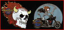 Hard Rock Cafe BEIJING 2000 HALLOWEEN 2 PIN Set Box SKULL & SKELETON BIKER #1125
