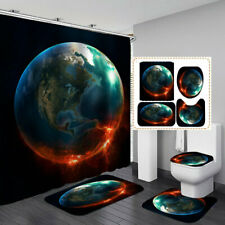 Sci Fi Burst Earth Shower Curtain Bath Mat Toilet Cover Rug Bathroom Decor