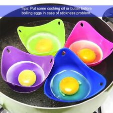 US Portable 4pcs Silicone Egg Poacher Cook Poach Pod Poached Baking Cup Tools B7