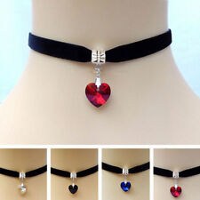 Heart Pendant Black Velvet Choker Necklace Chain Ladies Girls Goth Tattoo Lace