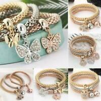 3 Pcs/Set Women Gold Silver Rose Gold Bracelets Cuff Rhinestone Bangle Jewelry