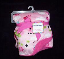 NEW Garanimals Pink Monkey Flowers Bird Giraffe Girl Safari Sherpa Baby Blanket