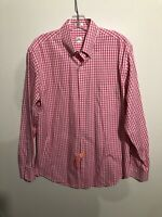 Men's Peter Millar Pink And White Gingham Button Down Shirt Medium