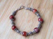 "Crab Fire Agate Carnelian Semi Precious Gemstones Tibetan Handmade 7.5"" Bracelet"