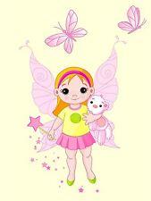 PRINT NURSERY BALLERINA DANCER FAIRY PINK BUTTERFLY WINGS KIDS BEDROOM LFMP0815