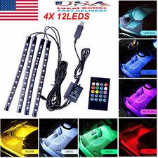 4X 48 LED Car Interior Atmosphere Neon Light Strip Music Control & IR Remote【US】