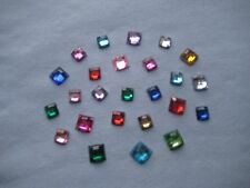 25 - PLASTIC RHINESTONE SEW-ON FLATBACKS - SQUARES - ASSTD COLORS & SIZES