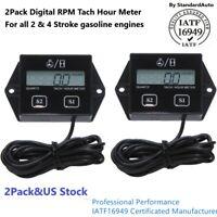 2Pack Digital Tach Hour Meter Tachometer Gauge For Dirt bike ATV UTV Gas Engines