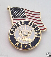 US NAVY LOGO WITH US FLAG  Military Veteran US NAVY Hat Pin P13770 EE