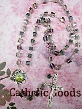 8 mm Faceted Cubed Glass Crystal Glass Bead- St. Michael Centerpiece - Rosary
