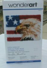 "New listing Caron WonderArt - Latch Hook Kit - American Eagle/Flag - 15"" x 20"" - #426148"