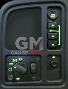 Left Dash Switches Bulb to Green LED Upgrade Kit 12v 03 04 05 06 Silverado Tahoe